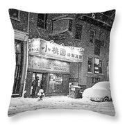 Boston Chinatown Snowstorm Tyler St Black And White Throw Pillow