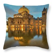 Boston Christian Science Building Reflecting Pool Throw Pillow