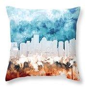 Boston City Skyline Watercolor 2 Throw Pillow