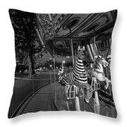 Boston Common Carousel Boston Ma Black And White Throw Pillow