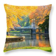 Fall Season At Boston Common Throw Pillow