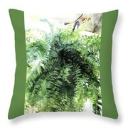 Boston Fern With Visitor Throw Pillow