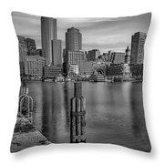 Boston Habor Sunrise Bw Throw Pillow
