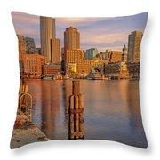Boston Habor Sunrise Throw Pillow