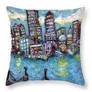 Boston Harbor Throw Pillow by Jason Gluskin