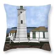 Boston Harbor Lighthouse On Brewster Island Throw Pillow