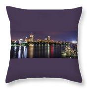 Boston Harbor Nights-panorama Throw Pillow by Joann Vitali