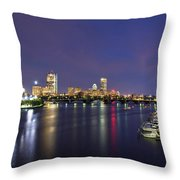 Boston Harbor Skyline Throw Pillow by Joann Vitali
