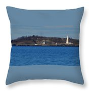 Boston Light And Great Brewster Island Throw Pillow