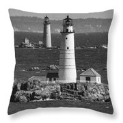 Boston Light With Graves Light Throw Pillow
