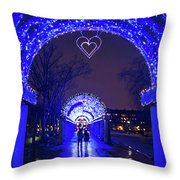 Boston Ma Christopher Columbus Park Trellis Lit Up For Valentine's Day Rainy Night Throw Pillow