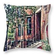 Boston Ma - Walking The Dog On Mount Vernon Street Throw Pillow