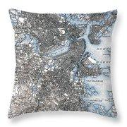 Boston Map, 1903 Throw Pillow