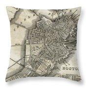 Boston Map Of 1842 Throw Pillow