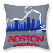 Boston Marathon 3a Running Runner Throw Pillow