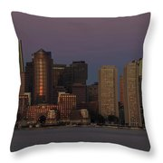 Boston Moonset And Sunrise Throw Pillow