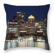 Boston Night Skyline Panorama Throw Pillow