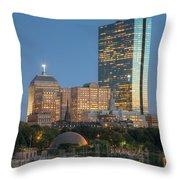 Boston Night Skyline Iv Throw Pillow