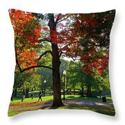 Boston Public Garden Autumn Tree Morning Light Walk In The Park Throw Pillow