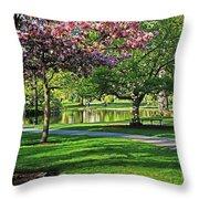 Boston Public Garden Pond Through The Cherry Blossom Spring Day Throw Pillow