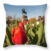 Boston Public Garden Tulips And George Washington Statue 2 Throw Pillow