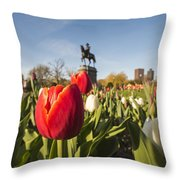 Boston Public Garden Tulips And George Washington Statue Throw Pillow