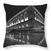 Boston Public Library Rainy Night Boston Ma Black And White Throw Pillow