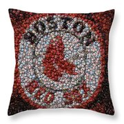 Boston Red Sox Bottle Cap Mosaic Throw Pillow
