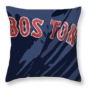 Boston Red Sox Typography Blue Throw Pillow