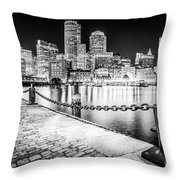 Boston Skyline At Night Black And White Picture Throw Pillow