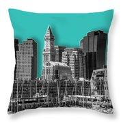 Boston Skyline - Graphic Art - Cyan Throw Pillow