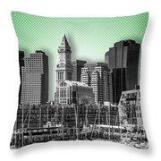 Boston Skyline - Graphic Art - Green Throw Pillow
