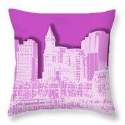 Boston Skyline - Graphic Art - Pink Throw Pillow