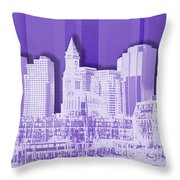 Boston Skyline - Graphic Art - Purple Throw Pillow