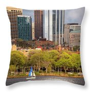 Boston Skyline Skyscraper Boston Ma Charles River Throw Pillow