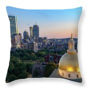 Boston State House Throw Pillow by Michael Hubley