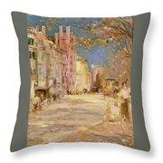 Boston Street Scene. Boston Common Throw Pillow