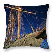 Boston Tall Ship Flags Boston Ma Sailors Blue Sky Throw Pillow