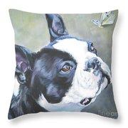 boston Terrier butterfly Throw Pillow