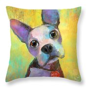 Boston Terrier Puppy Dog Painting Print Throw Pillow
