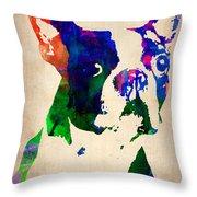 Boston Terrier Watercolor Throw Pillow by Naxart Studio