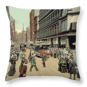 Boston: Washington Street Throw Pillow