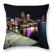Boston Waterfront Skyline View Boston Ma Throw Pillow