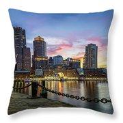 Boston,ma Sunset Throw Pillow