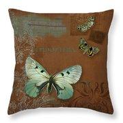 Botanica Vintage Butterflies N Moths Collage 4 Throw Pillow