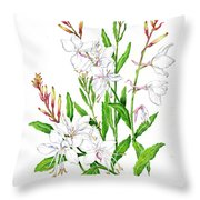Botanical Illustration Floral Painting Throw Pillow