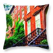 Botanical Village Sketch Throw Pillow
