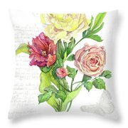 Botanical Vintage Style Watercolor Floral 3 - Peony Tulip And Rose With Butterfly Throw Pillow