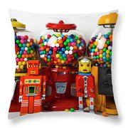 Bots And Bubblegum Machines Throw Pillow