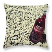 Bottle And The Beach  Throw Pillow